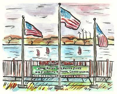 Sailboard Beach Poster by Matt Gaudian