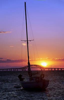 Sailboat And The Bridge At Sunrise Poster by Vicki Jauron