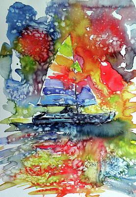 Sailboat At Sunset II Poster by Kovacs Anna Brigitta