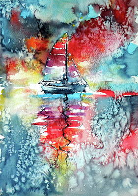 Sailboat At The Sinshine Poster by Kovacs Anna Brigitta