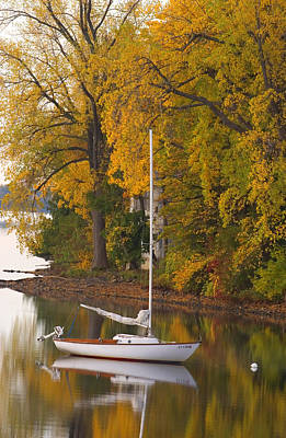 Sailboat In Alburg Vermont  Poster by George Robinson