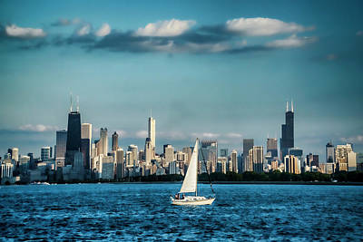 Sailboat In Front Of Chicago Skyline Poster by Sven Brogren