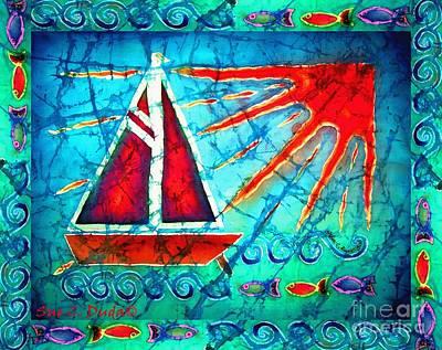 Sailboat In The Sun Poster by Sue Duda