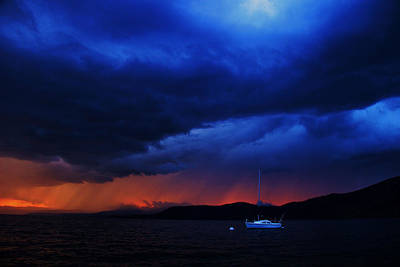Poster featuring the photograph Sailboat In Thunderstorm by Sean Sarsfield