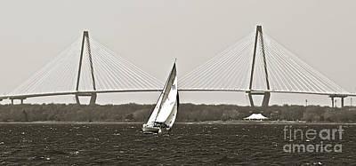 Sailboat Sailing Cooper River Bridge Charleston Sc Poster