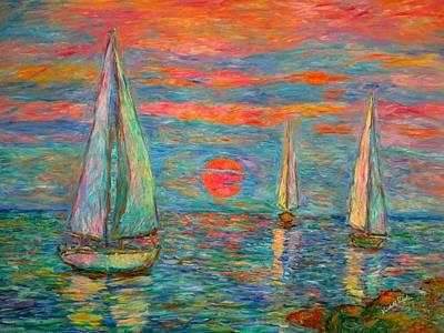 Sailboat Sunrise Poster by Kendall Kessler