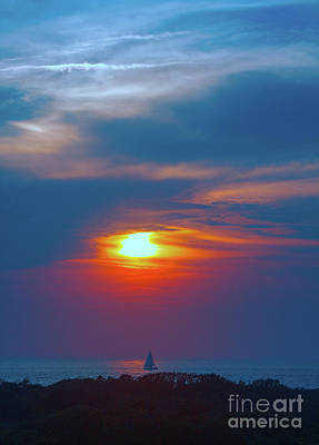 Sailboat Sunset Poster by Todd Breitling