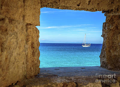 Sailboat Through The Old Stone Walls Of Rhodes, Greece Poster