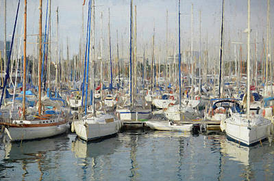 Sailboats At The Dock - Painting Poster
