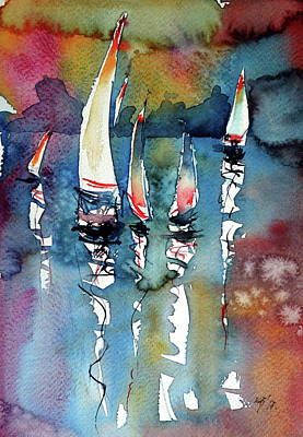 Poster featuring the painting Sailboats II by Kovacs Anna Brigitta