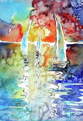 Sailboats In Light Poster by Kovacs Anna Brigitta