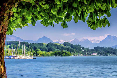 Sailboats In Lucerne Poster by Lisa Lemmons-Powers