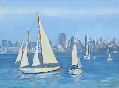 Sailboats In Sausalito Poster by Dominique Amendola