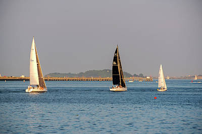 Sailboats On The Boston Harbor Boston Harbor Islands Poster