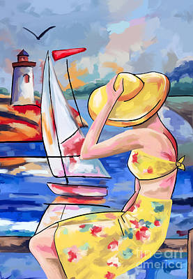 Sailbouts Lighthouses And A Lady Poster by Tim Gilliland