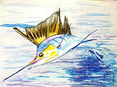 Sailfish Saltwater Fishing Poster by Scott D Van Osdol