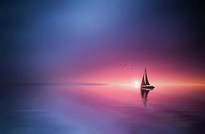 Sailing Across The Lake Toward The Sunset Poster