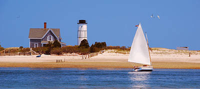 Sailing Around Sandy Neck Lighthouse Poster by Charles Harden