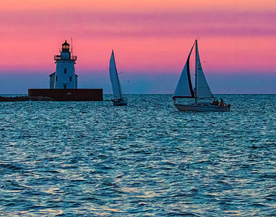 Sailing At The Cleveland Lighthouse  Poster