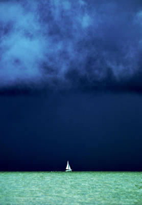 Sailing Beneath The Storm Poster by Vicki Jauron