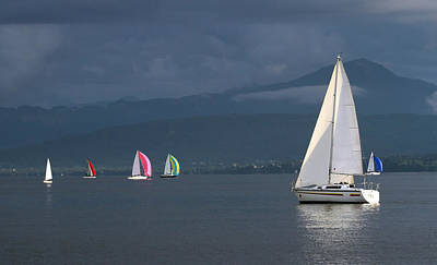 Sailing Boats By Stormy Weather, Geneva Lake, Switzerland Poster
