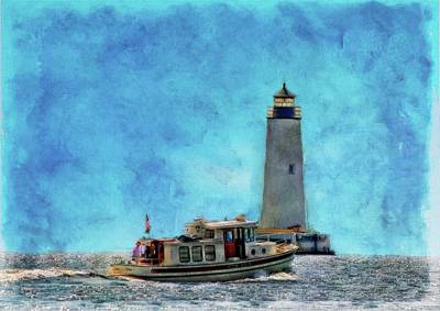 Sailing By Harbor Lighthouse  Poster by Chet Dembeck