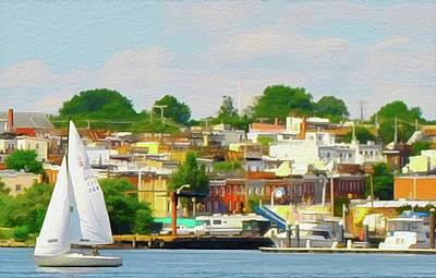 Sailing By Locust Point Row Houses, Baltimore, Md.  Poster by Chet Dembeck