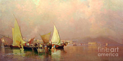 Sailing Fishermen Boats In Naples Poster