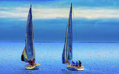 Sailing In The Blue Poster by Joseph Hollingsworth