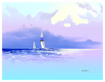 Poster featuring the painting Sailing Into The Blue by Sena Wilson