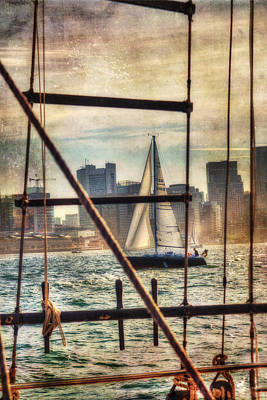 Sailing On Boston Harbor - Vintage Poster by Joann Vitali
