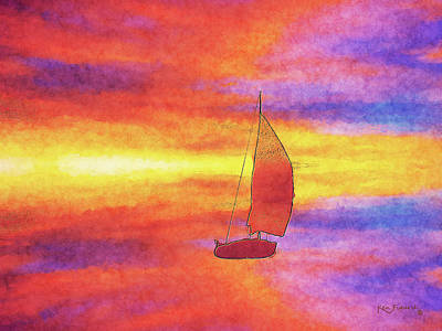 Sailing On Color Bay Poster