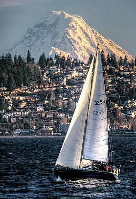 Sailing On Elliot Bay, Seattle, Wa Poster