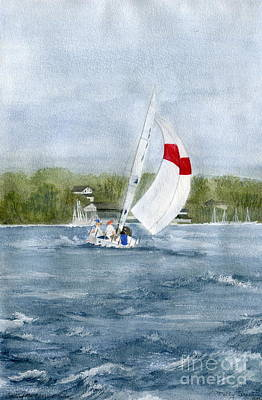 Poster featuring the painting Sailing On Niagara River by Melly Terpening
