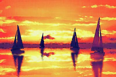Sailing On Reflection Bay Bold Poster