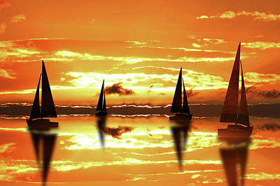 Sailing On Reflection Bay Poster