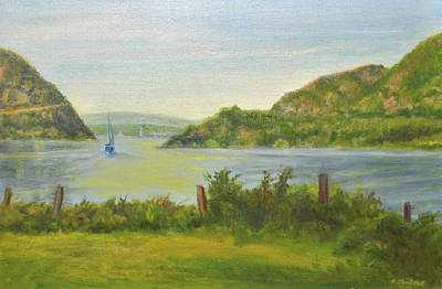 Sailing Past Cold Spring Poster by Phyllis Tarlow
