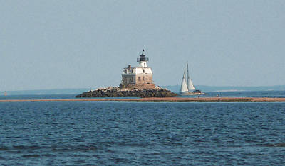 Poster featuring the photograph Sailing Penfield Lighthouse by Margie Avellino