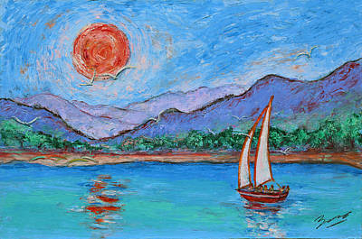 Poster featuring the painting Sailing Red Sun by Xueling Zou