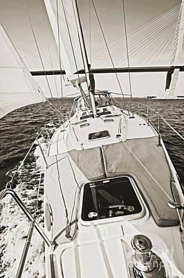 Sailing Sailboat Charleston Sc Bridge Poster