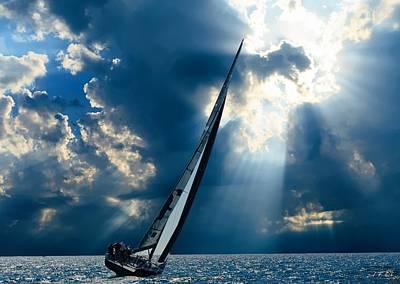 Sailing Ship . The Sea Hates A Coward.  Poster