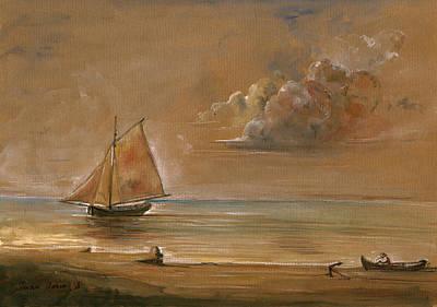 Sailing Ship At Sunset Poster by Juan  Bosco