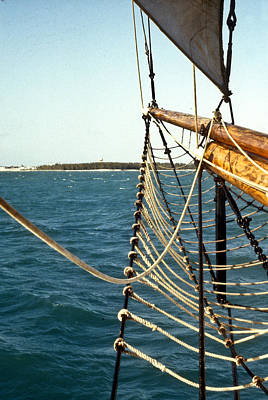 Sailing Ship Prow On The Caribbean Poster by Douglas Barnett