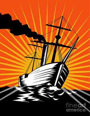 Sailing Ship Retro Woodcut Poster