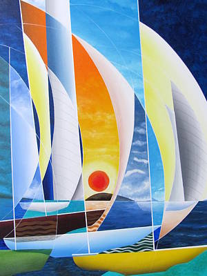 Poster featuring the painting Sailing Till Sunset by Douglas Pike