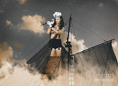 Sailor Pinup Girl On Lookout From Ships Crows-nest Poster by Jorgo Photography - Wall Art Gallery
