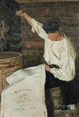 Sailor Sewing Sail  Poster