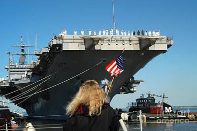 Sailors Aboard Aircraft Carrier Uss Poster