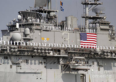 Sailors Aboard Uss Kearsarge Man Poster by Stocktrek Images