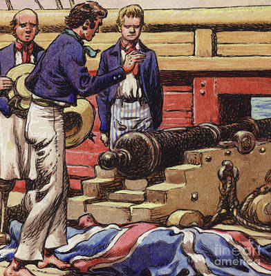 Sailors At A Ship's Cannon Poster